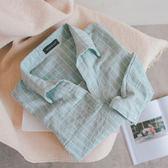 MUMU【T37028】輕柔條紋棉質後排扣五分袖襯衫