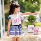 蜜糖彩色蝶結拼字小蓋袖上衣(250299)★水娃娃時尚童裝★