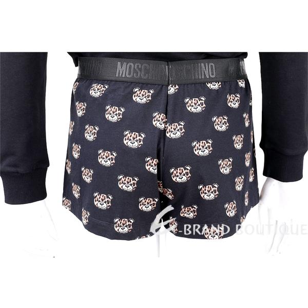 MOSCHINO Underwear 豹紋熊熊黑色四角居家褲 1930135-01
