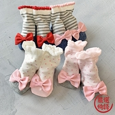 【日本製】日本製 mimi 嬰兒 大蝴蝶結 襪子 灰白底 x 灰 SD-1155 -