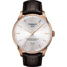 TISSOT 天梭 杜魯爾系列機械動力80手錶-銀x玫瑰金框/42mm T0994073603700