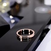 韓京韓版簡約時尚帶鑚英文字母食指環鈦鋼戒指潮人小指尾戒裝飾品 喵小姐