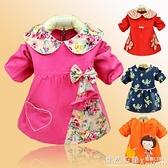 嬰兒童罩衣春秋長袖燈芯絨防水大碼吃飯衣圍衣倒褂女寶寶反穿衣 ◣怦然心動◥
