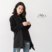 不對稱設計時尚造型長袖襯衫(S-L適穿)- 現貨快出【C8W1204】 iNio 衣著美學