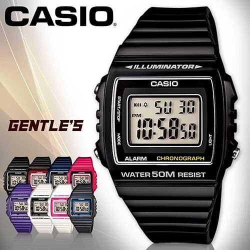 CASIO手錶專賣店 卡西歐  W-215H-1A 數字錶 黑色 中性錶 方形 防水50米 LED背光照明 膠質錶帶