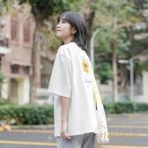 短袖T恤女寬松上衣打底衫韓版白色后背印花【繁星小鎮】