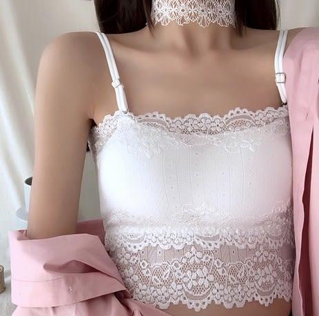 EASON SHOP(GU5787)蕾絲美背吊帶小背心抹胸裹胸內衣彈力貼身防走光內搭衫女上衣服素色韓版