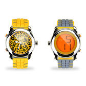 colore TWINS時尚豹紋數位指針錶M06黃配灰