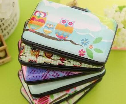 [最殺] 彩繪貓頭鷹硬殼防消磁風琴卡包套 卡片夾 名片夾 卡包 生活 創意 小物