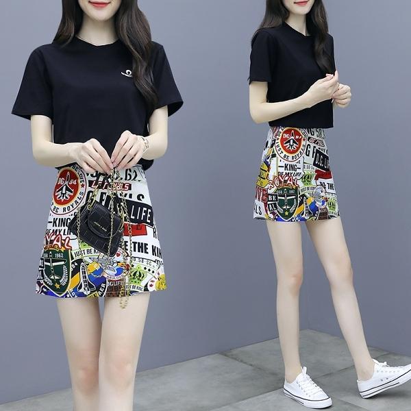 網紅法式赫本高腰短裙套裝女2021夏季新款洋氣顯瘦氣質女神兩件套NA28-A.6007 胖丫