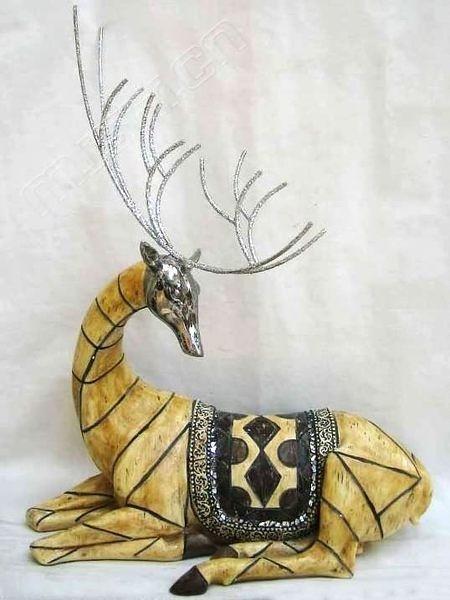 東南亞佛像/ 家居飾品/電鍍窩姿轉頭鹿
