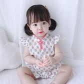 中國風飛袖印花旗袍包屁衣 連身衣 嬰兒裝