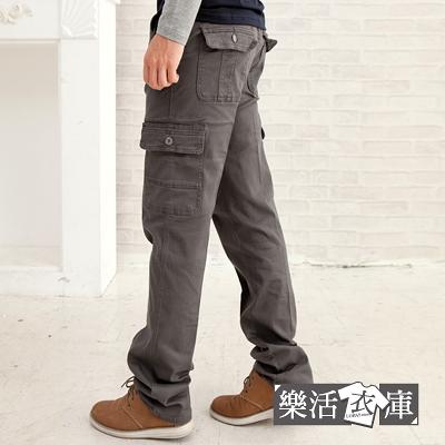 【7226】多口袋斜紋布伸縮休閒長褲(灰色)● 樂活衣庫
