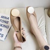 豆豆鞋秋季新款復古方頭奶奶鞋網紅淺口溫柔風單鞋外穿豆豆鞋女鞋子時尚新品