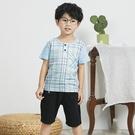 清新藍綠格紋排釦短T 春夏童裝 男童棉T 男童上衣 男童短袖 男童T恤