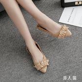 低跟尖頭鞋新款韓版兩穿單鞋女秋季女鞋淺口尖頭絨面平底女 zm7868『男人範』