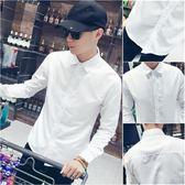 夏季薄款白襯衫男長袖修身韓版潮流休閒襯衣男士商務正裝純色寸衫  莉卡嚴選