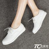 春夏英倫風女鞋學生小白鞋系帶平底皮鞋平跟休閑鞋白色鞋子女單鞋