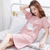 韓版睡裙女夏純棉短袖甜美睡衣夏季薄款少女士可愛卡通寬鬆家居服  夏季上新