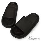拖鞋 輕量彈力厚底防水拖鞋-黑