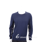 BURBERRY 格紋細節設計美麗諾套頭羊毛衫(男款/海軍藍) 1840472-34