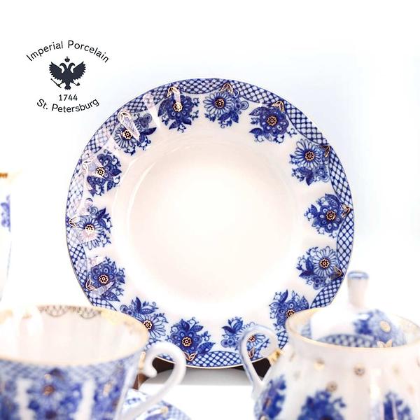 俄羅斯Imperial Porcelain-午茶系列-花籃盛景22K金手工-20件式禮組