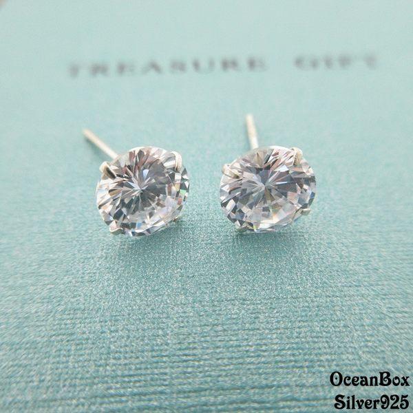 ☆§海洋盒子§☆經典永恆圓形鑲鑽鋯石耳針式耳環《925純銀耳環》