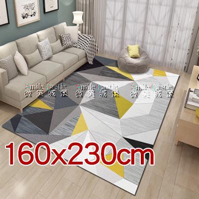 地毯地墊「160X230cm」幾何拼接印花水晶絨地毯防滑地墊榻榻米墊爬行墊「微笑城堡」