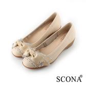 SCONA 蘇格南 全真皮 精緻緞飾舒適楔型鞋 米色 22706-1