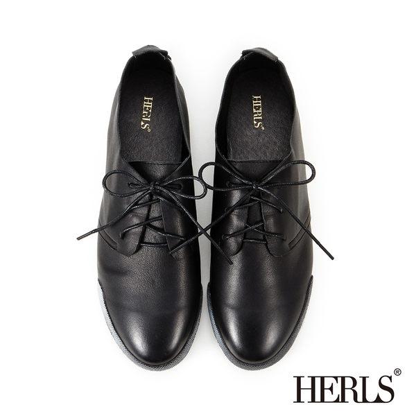 休閒鞋-全真皮仿舊刷色休閒鞋 -黑色