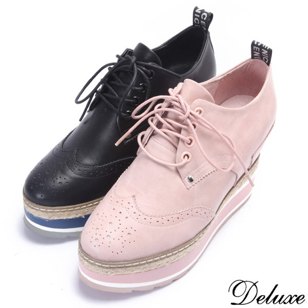 【Deluxe】全真皮浪漫英倫時尚雕花厚底休閒鞋(粉☆黑)