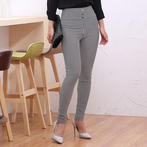 百搭基本款    彈力黑白條紋修身長褲  [四種條紋款式 請參照圖片]  [MNNO160729]