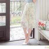 《CA2024》暈染雲彩印花收腰鬆緊百褶雪紡A字長裙--適 XL~6L OrangeBear