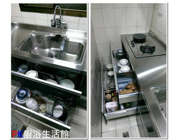 ❤ PK廚浴生活館 實體店面 ❤ 高雄櫻花廚具熱水器 一字型流理台 白鐵桶身 白鐵台面 美耐板