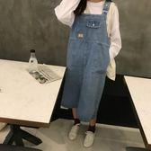 2018新品正韓學院風中長款牛仔背帶裙夏學生寬鬆顯瘦連身裙 洋裝女裙子