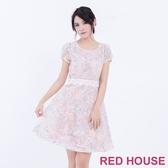 【RED HOUSE 蕾赫斯】透膚蕾絲烏干紗洋裝(粉色)-單一特價