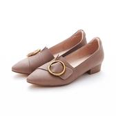 MICHELLE PARK 高質感迷人簡約顯瘦尖頭圓扣羊皮平底鞋-灰