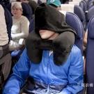充氣u型枕吹氣旅行枕連帽護頸枕頸椎午休枕...