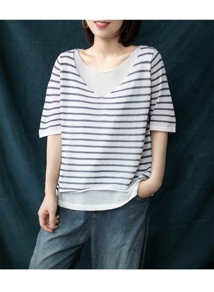 假兩件條紋針織上衣針織衫T恤韓版【75-14-83593-20】ibella 艾貝拉