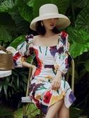 法式洋裝法式復古方領連身裙宮廷風chic法國小眾燈籠袖赫本風長款度假長裙 衣間迷你屋