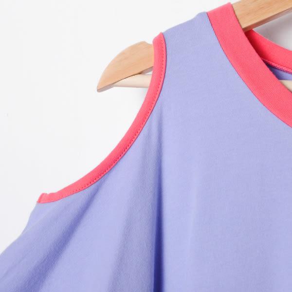 【Dailo】裸肩傘狀造型上衣-紫 10506