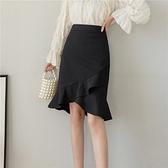 包臀裙OL半身裙S-3XL2120#純色職業女人味不規則魚尾裙四季款韓版高腰包臀一步裙T621紅粉佳人