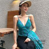 復古格子吊帶背心 寬鬆防曬襯衫兩件套時尚套裝女裝