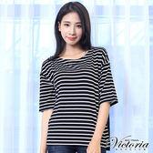 Victoria 條紋蕾絲拼接寬鬆五分袖T-女-黑底白條