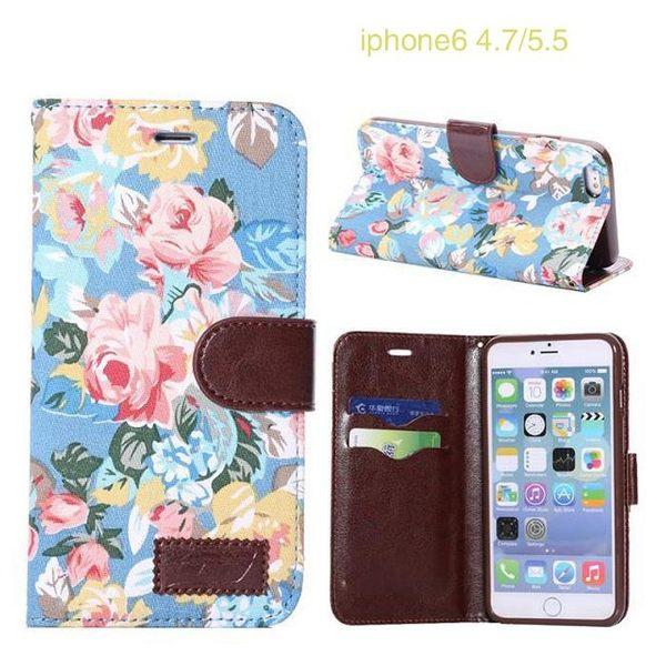 【預購】蘋果 iPhone 6s Plus 5.5吋花布紋支架插卡皮套 Apple 6 Plus / 6s Plus 側翻手機保護殼 保護套