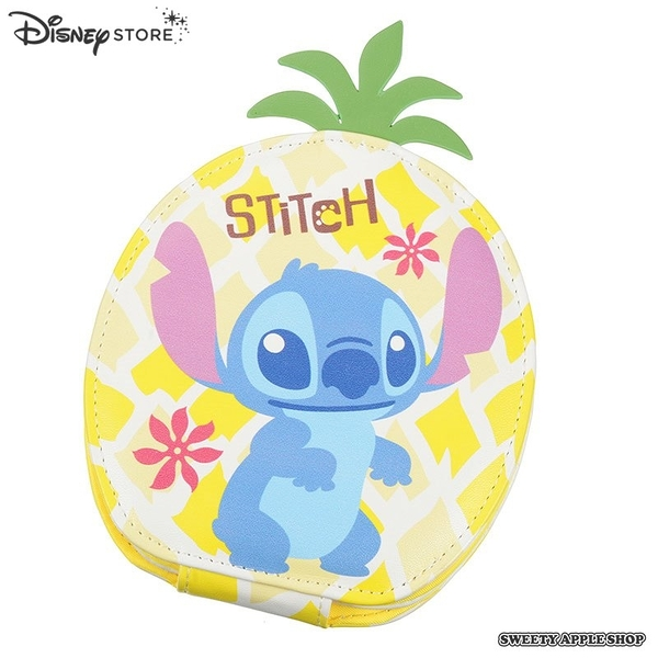 日本限定 Disney Store  迪士尼 史迪奇 鳳梨造型 隨身化妝鏡 / 摺疊鏡