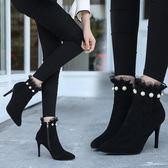 裸靴高跟秋冬新款珍珠蕾絲女靴2018細跟短靴裸靴英倫馬丁靴拉鏈高跟鞋歐美 米蘭世家