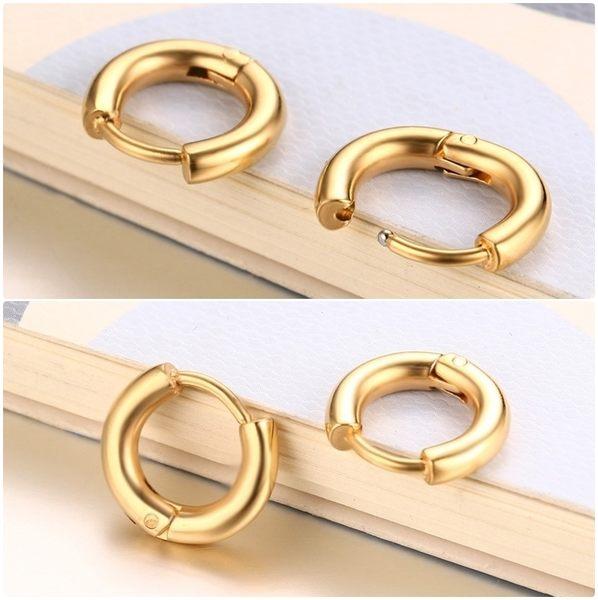 316L醫療鋼 弧形素面 耳環耳圈扣-金、銀、黑 防抗過敏 單支販售