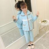 兒童珊瑚絨睡衣女寶寶女童法蘭絨秋冬季小女孩加厚公主家居服套裝 9號潮人館