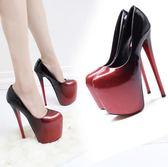 恨天高 超高細跟20cm恨天高22cm夜店女鞋漸變黑紅大碼43碼婚鞋單鞋